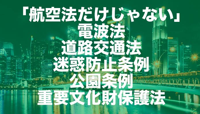 【電波法・道路交通法・迷惑防止条例・公園条例・重要文化財保護法】