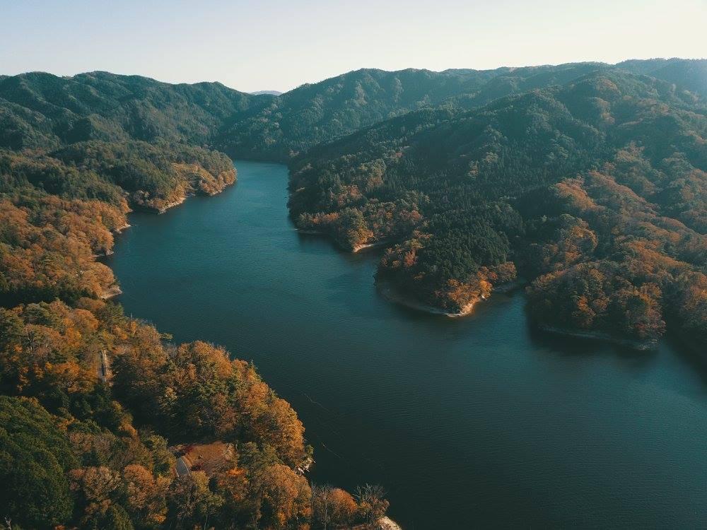 三河湖をドローン空撮