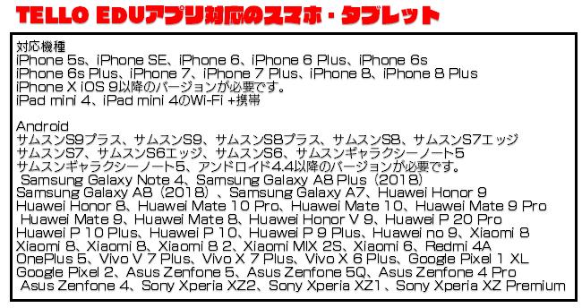 TELLO EDUアプリ対応のスマホ・タブレット対応機種iPhone 5s、iPhone SE、iPhone 6、iPhone 6 Plus、iPhone 6siPhone 6s Plus、iPhone 7、iPhone 7 Plus、iPhone 8、iPhone 8 PlusiPhone X iOS 9以降のバージョンが必要です。 iPad mini 4、iPad mini 4のWi-Fi +携帯AndroidサムスンS9プラス、サムスンS9、サムスンS8プラス、サムスンS8、サムスンS7エッジサムスンS7、サムスンS6エッジ、サムスンS6、サムスンギャラクシーノート5サムスンギャラクシーノート5、アンドロイド4.4以降のバージョンが必要です。 Samsung Galaxy Note 4、Samsung Galaxy A8 Plus(2018)Samsung Galaxy A8(2018)、Samsung Galaxy A7、Huawei Honor 9Huawei Honor 8、Huawei Mate 10 Pro、Huawei Mate 10、Huawei Mate 9 Pro Huawei Mate 9、Huawei Mate 8、Huawei Honor V 9、Huawei P 20 ProHuawei P 10 Plus、Huawei P 10、Huawei P 9 Plus、Huawei no 9、Xiaomi 8Xiaomi 8、Xiaomi 8、Xiaomi 8 2、Xiaomi MIX 2S、Xiaomi 6、Redmi 4AOnePlus 5、Vivo V 7 Plus、Vivo X 7 Plus、Vivo X 6 Plus、Google Pixel 1 XLGoogle Pixel 2、Asus Zenfone 5、Asus Zenfone 5Q、Asus Zenfone 4 Pro Asus Zenfone 4、Sony Xperia XZ2、Sony Xperia XZ1、Sony Xperia XZ Premium