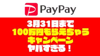 【期間限定】ペイペイの銀行登録で100万円もらえちゃうキャンペーン【~3月31日】