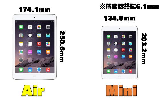 【比較】iPad「mini」と「Air」大きさってどれくらいなの??