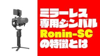 【ミラーレス専用ジンバル】Ronin-SCはSonyαシリーズに最適